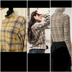 Turtleneck Longsleeve top blouse plaids